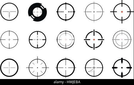 Sniper sight, symbol. Crosshair, target set of icons. Vector illustration - Stock Photo