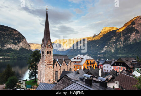 Scenic panoramic view of the famous mountain village in the Austrian Alps. Hallstatt Austria