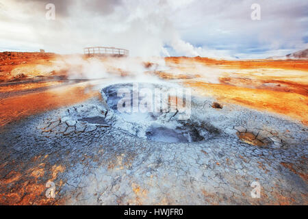 Fumarole field in Namafjall Iceland. Beauty world - Stock Photo