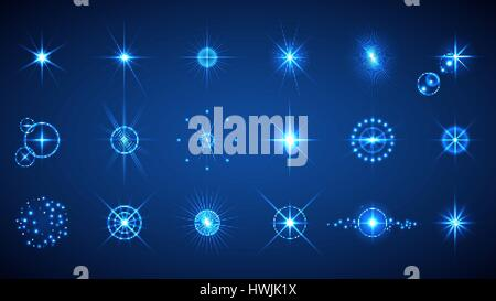 Light effects set. Vector illustration of abstract glowing lights, flashes, lens flares, stars and sparkles for - Stock Photo