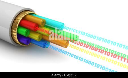 abstract 3d illustration of digital binary data inside fiber optics cable - Stock Photo