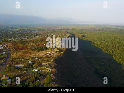 Aerial view of the Nechisar national park and lakes chamo and abaya, Gamo gofa omo, Arba Minch, Ethiopia - Stock Photo