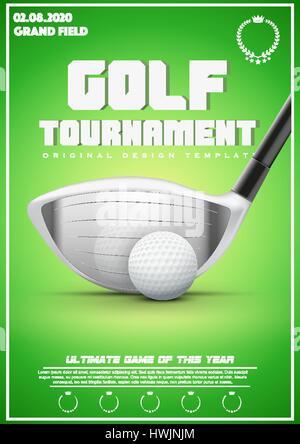 Golf Tournament Poster Template Flyer Design Vector Illustration