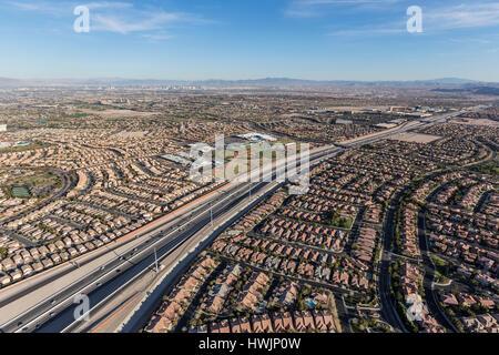 Aerial view of the 215 freeway in the Summerlin neighborhood of Las Vegas, Nevada. - Stock Photo