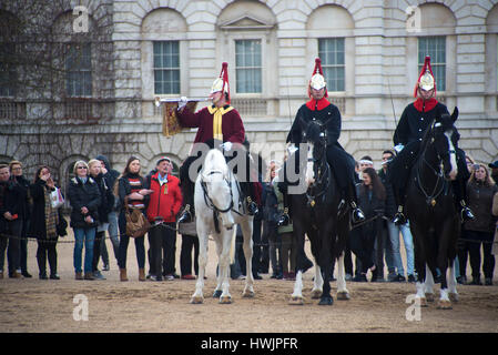 London, UK. 21st Mar, 2017. The queen's life guard is normally provided by men of the household cavalry mounted - Stock Photo