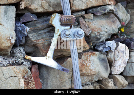 closed hook on wire rope - Stock Photo