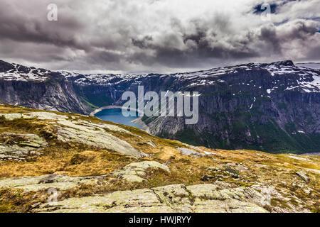 July 22, 2015: Lake on the way to Trolltunga, Norway - Stock Photo