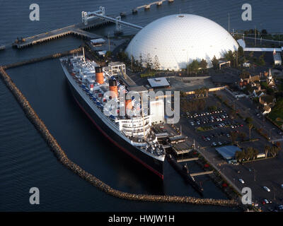 RMS Queen Mary Cruise Liner in Long Beach, CA - Stock Photo