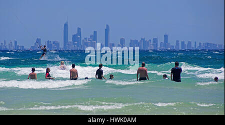 Skyline of Surfer's Paradise from Coolangatta Beach, Queensland, Australia. - Stock Photo