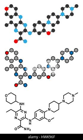 Gilteritinib cancer drug molecule (kinase inhibitor). Stylized 2D renderings and conventional skeletal formula. - Stock Photo