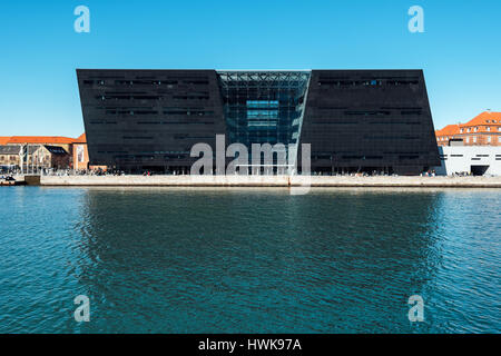 COPENHAGEN, DENMARK - MARCH 11, 2017: Black Diamond, modern waterfront extension to the Royal Danish Library in - Stock Photo