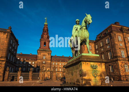 COPENHAGEN, DENMARK - MARCH 11, 2017: Equestrian statue of King Christian the 9th Copenhagen Denmark Inside the - Stock Photo