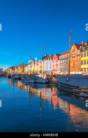 COPENHAGEN, DENMARK - MARCH 11, 2017: Copenhagen Nyhavn district. In 1977, Nyhavn was inaugurated as a veteran ship - Stock Photo