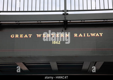 Detail of the railway bridge which crosses the main street in Hungerford, Berkshire - Stock Photo