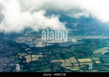 Aerial view of London Gatwick Airport, UK - Stock Photo