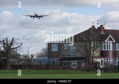 British Airways plane approaching London Heathrow Airport, UK - Stock Photo