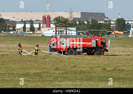 Demonstration of fire equipment, Rostov-on-Don, Russia, July 1, 2014. Territory of the helicopter plant. - Stock Photo