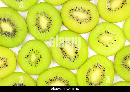 slices of fresh green kiwi fruits as a food background texture