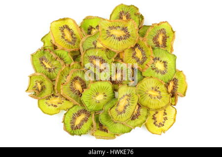composition of dried slices of kiwi fruits isolated on a white background - Stock Photo