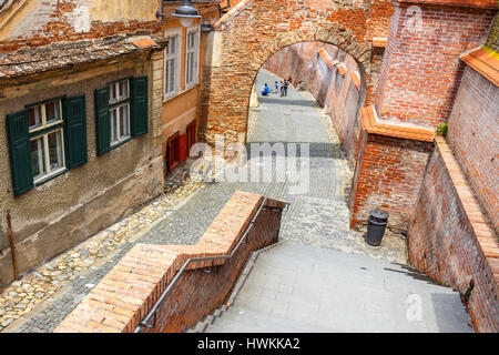 Sibiu, Romania - July 19, 2014: Old Town Square in the historical center of Sibiu was built in the 14th century, - Stock Photo