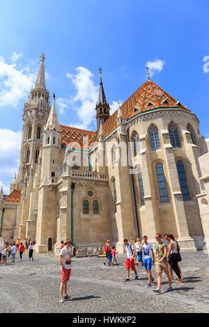BUDAPEST, HUNGARY - July 24, 2014: Matthias Church is a Roman Catholic church located in Budapest, Hungary - Stock Photo