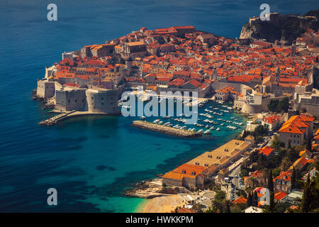 Dubrovnik, Croatia. Beautiful romantic old town of Dubrovnik during sunny day, Croatia,Europe. - Stock Photo