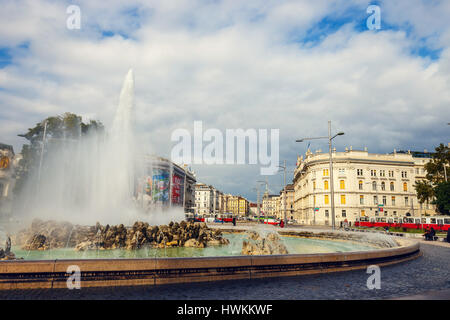Vienna, Austria, October 13, 2016: World War Fountain  on Schwarzenbergplatz in Vienna. Austria - Stock Photo