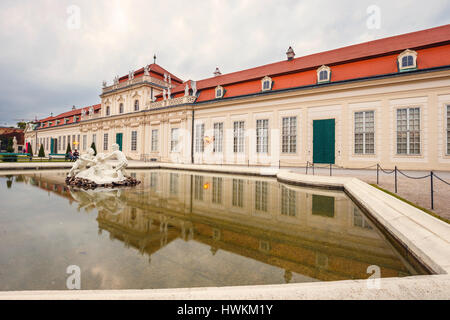 VIENNA, AUSTRIA - October 13, 2016: Belvedere Palace and garden in Vienna.  Austria. - Stock Photo
