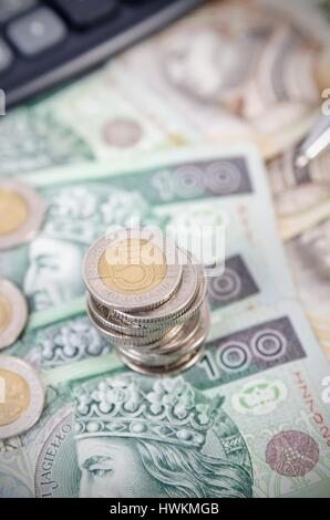 Stack of polish money business composition. polish money coins business income stack gambling currency concept - Stock Photo
