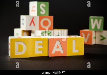 DEAL word with colorful blocks. deal word block business blocks concept - Stock Photo