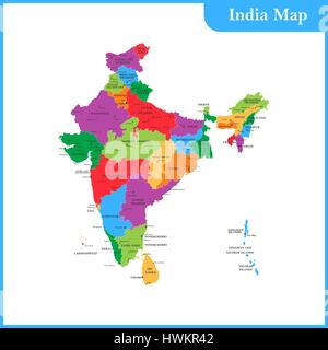 The detailed map of the India with regions or states and cities, capitals and Sri Lanka - Stock Photo