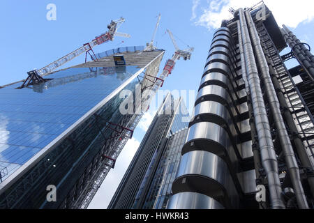 View looking up at the Scalpel skyscraper under construction in the City of London UK - Stock Photo