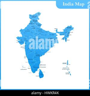 The detailed map of the India with regions and Sri Lanka - Stock Photo