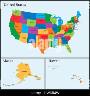 Detailed Map Of The United States Including Alaska And Hawaii - Us map including hawaii
