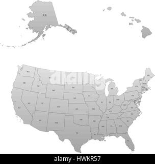 Detailed map of the United States, including Alaska and Hawaii. United States with each state abbreviation - Stock Photo