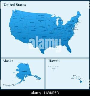 The detailed map of the USA including Alaska and Hawaii. The United States of America with the capitals and the - Stock Photo