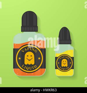 Icon of Vape liquid or juice with ghost silhouette. Electronic cigarette e-liquid bottles. Vector Vaping symbol. - Stock Photo