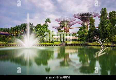 Dragonfly Lake, with Fountain and Supertree Grove in The Gardens by the Bay, Singapore. - Stock Photo