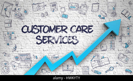 Customer Care Services Drawn on White Wall. 3d. - Stock Photo