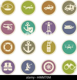 Coast Guard icon set for web sites and user interface - Stock Photo