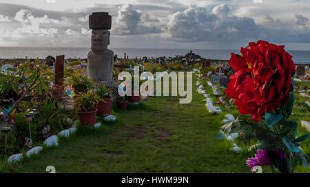 Cemetary at hanga Roa, Easter Island , Chile - Stock Photo