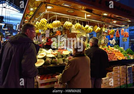 BARCELONA, SPAIN - NOVEMBER 11, 2016: The largest fresh food market in Barcelona. The first mention dates from 1217. - Stock Photo