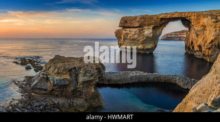 Gozo, Malta - Panoramic view of the beautiful Azure Window, a natural arch and famous landmark on the island of - Stock Photo