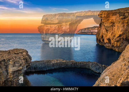 Gozo, Malta - The beautiful Azure Window, a natural arch and famous landmark on the island of Gozo has been collapsed - Stock Photo