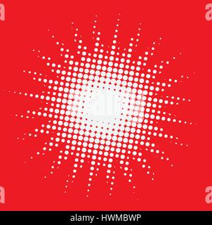 white dots in the shape of a star with red background - Stock Photo