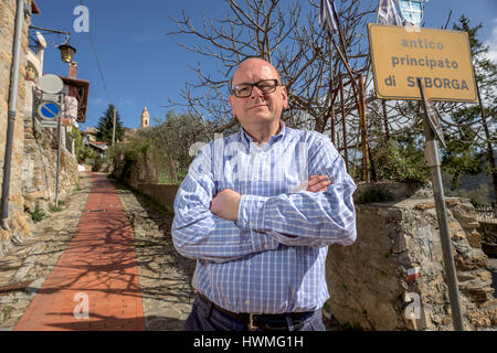 Mark Dezzani, a Radio Caroline DJ from Crawley, West Sussex, who is campaigning to become Prince of the Principality - Stock Photo