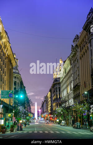 Roque Saenz Pena Avenue - running off the Plaza de Mayo in Buenos Aires - Stock Photo