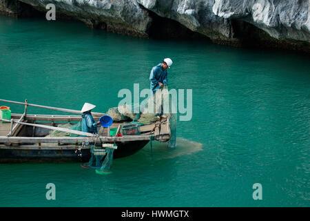 Fishermen, Ha Long Bay, Vietnam - Stock Photo
