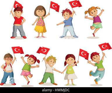 Vector illustration of children with Turkish flag. 23 Nisan Çocuk Bayrami, April 23 Turkish National Sovereignty - Stock Photo