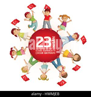 Vector illustration of the 23 Nisan Çocuk Bayrami, April 23 Turkish National Sovereignty and Children's Day, design - Stock Photo